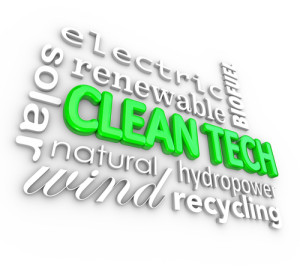 Clean Tech words in 3d letters surrounded by disruptive energy businesses such as electric, solar, wind, hydropower, biofuel and other renewable resources and natural power sources